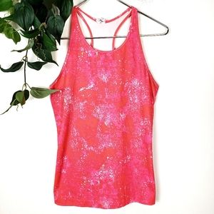 Under Armour Pink & White Fitted Splatter Tank Top